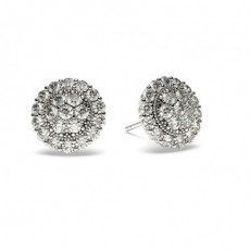 Round White Gold Cluster Earrings