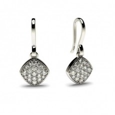 White Gold Round Diamond Delicate Earrings