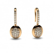 Round Rose Gold Drop Earrings