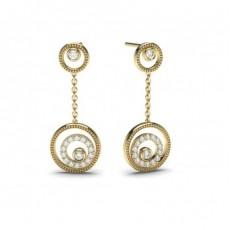 Boucles d'oreilles délicates diamant rond serti clos et pavé 0.25ct