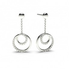 Round Platinum Drop Diamond Earrings