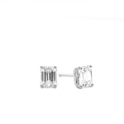4 G Setting Emerald Diamond Stud Earrings