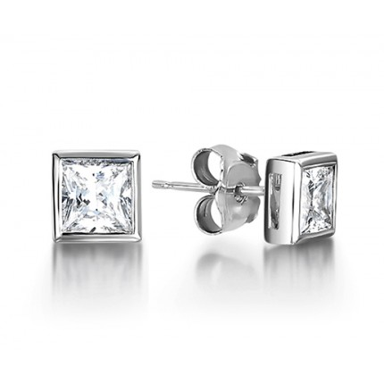 8b41991688a69 White Gold Princess Diamond Stud Earrings