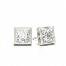 White Gold Princess Diamond Stud Earrings