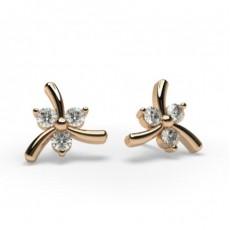 2 Prong Setting Round Diamond Designer Stud Earrings