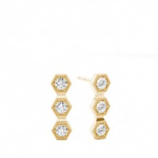 Round Yellow Gold Journey Diamond Earrings