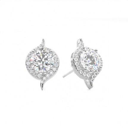 White Gold Round Diamond Halo Earring