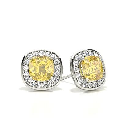 Yellow Diamond Halo Stud Earring