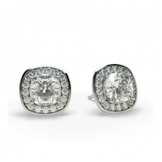 White Gold Cushion Diamond Halo Earring
