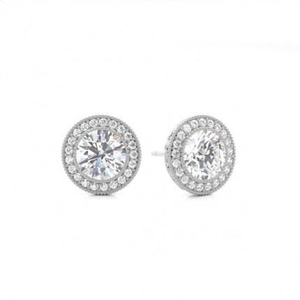 White Gold Round Diamond Designer Earring Online Uk Diamonds Factory