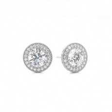 White Gold Round Diamond Designer Earring