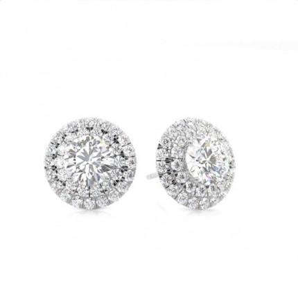 White Gold Round Diamond Cluster Earring