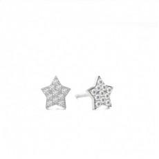 Boucles d'oreilles chute de diamants ronds serti pavé 0.39ct