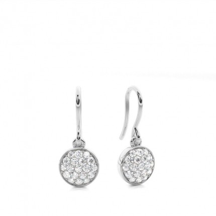 4 Prong Setting Round Diamond Cluster Earrings