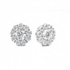 4 Prong Setting Round Diamond Cluster Earrings