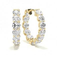 Boucles d'oreilles créoles diamant rond serti 4 griffes 0.33ct