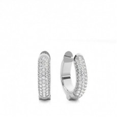 White Gold Round Diamond Hoop Earring