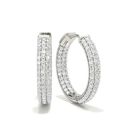 zu verkaufen glatt riesiges Inventar Runde Diamant Creolen in einer Krappenfassung