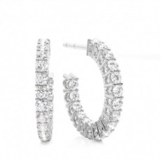White Gold Round Diamond Designer Earrings