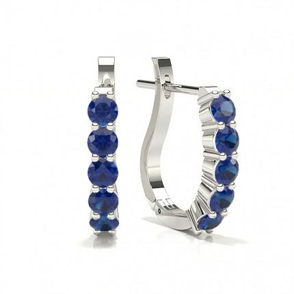 Round Blue Sapphire Hoop Earring