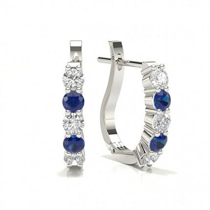 Round Diamond Blue Sapphire Hoop Earring
