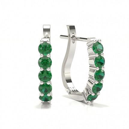 Round Emerald Hoop Earring