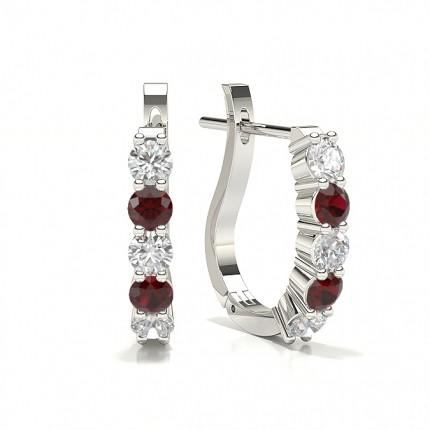 Round Ruby Diamond Hoop Earring