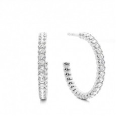 White Gold Round and Baguette Diamond Hoop Earring