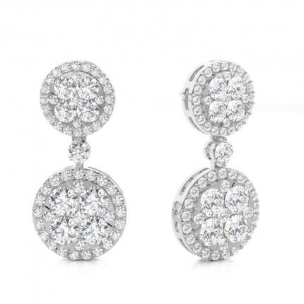 4 Prong Setting Round & Baguette Diamond Cluster Earrings