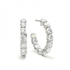 3 Prong Setting Round Diamond Stud Earring