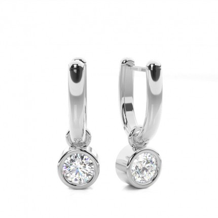 Online Round Diamond Drop Earrings Made In White Gold Diamonds Factory