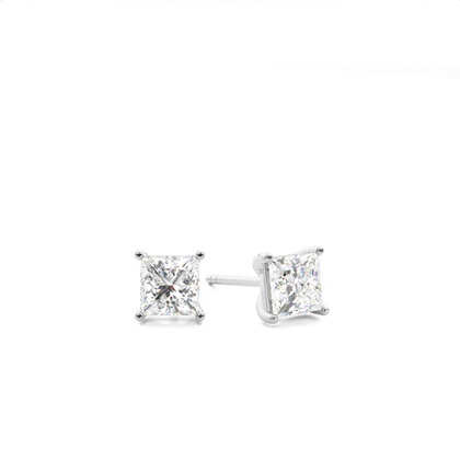 4 Prong Setting Princess Diamond Stud Earring