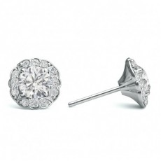 4 Prong Setting Halo Stud Earring