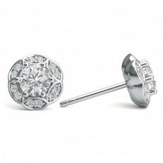 White Gold Round Diamond Halo Earrings