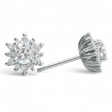 Platinum Cluster Earrings