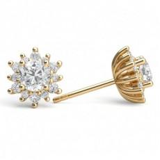 3 Prong Setting Pear Diamond Stud Earring