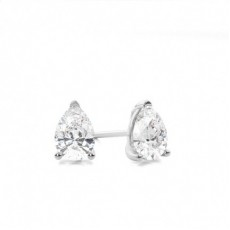 Pear White Gold Stud Diamond Earrings