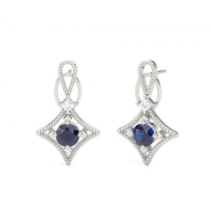 4 G Setting Blue Shire Designer Stud Earrings Online Uk Diamonds Factory