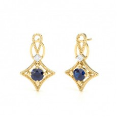 Princess Yellow Gold Diamond Earrings