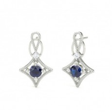 4 Prong Setting Blue Sapphire Designer Stud Earrings