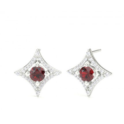 4 G Setting Ruby Designer Stud Earrings Online Uk Diamonds Factory