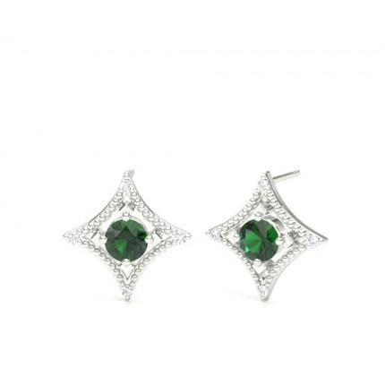 3d7f0a56d Buy 4 Prong Setting Emerald Designer Stud Earrings Online UK - Diamonds  Factory