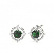 Round Gemstone Diamond Earrings