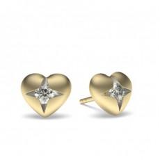 Yellow Gold Round Diamond Delicate Earrings