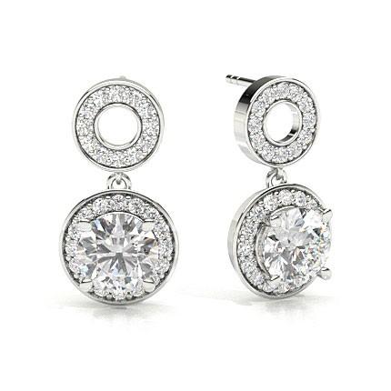 White Gold Princess Diamond Halo Earrings