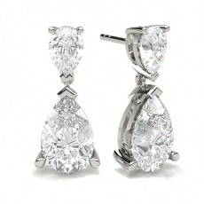 3 Prong Setting Pear Diamond Designer Earrings