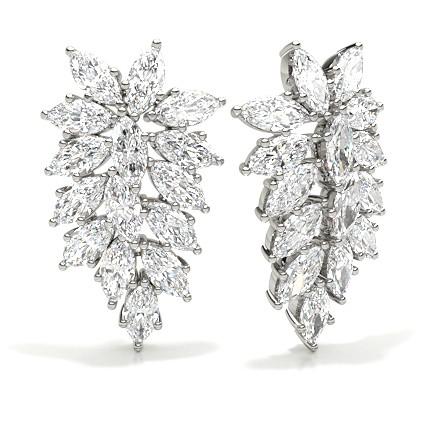 4 Prong Setting Marquise Diamond Designer Earrings