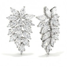 4 Prong Setting Marquise Diamond Designer Earrings