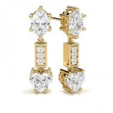 Oval Yellow Gold Cluster Earrings