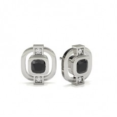Full Bezel Round Black Diamond Designer Earrings